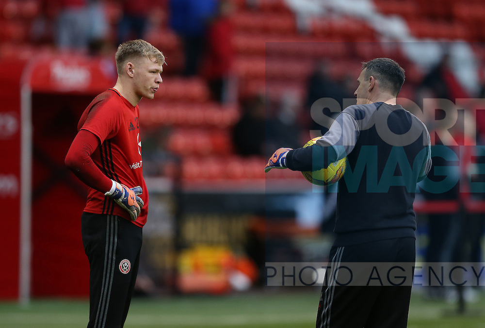 Aaron Ramsdale of Sheffield Utd talks to catch Darren Ward during the English League One match at Bramall Lane Stadium, Sheffield. Picture date: December 10th, 2016. Pic Simon Bellis/Sportimage