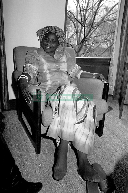 Relaxing in her hotel room Sally Mugabe wife of Zimbabwe's Prime Minister, Robert Mugabe. She flew in to speak at the 1980 Golden Sunrise Awards, which were given annually for acheivements by Africans living in Britain, Robert Mugabe has been nominated for International Personality of 1980.