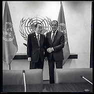 Sergey V. Lavrov, the Minister for Foreign Affairs of the Russian Federation, with United Nations Secretary General Ban Ki moon.