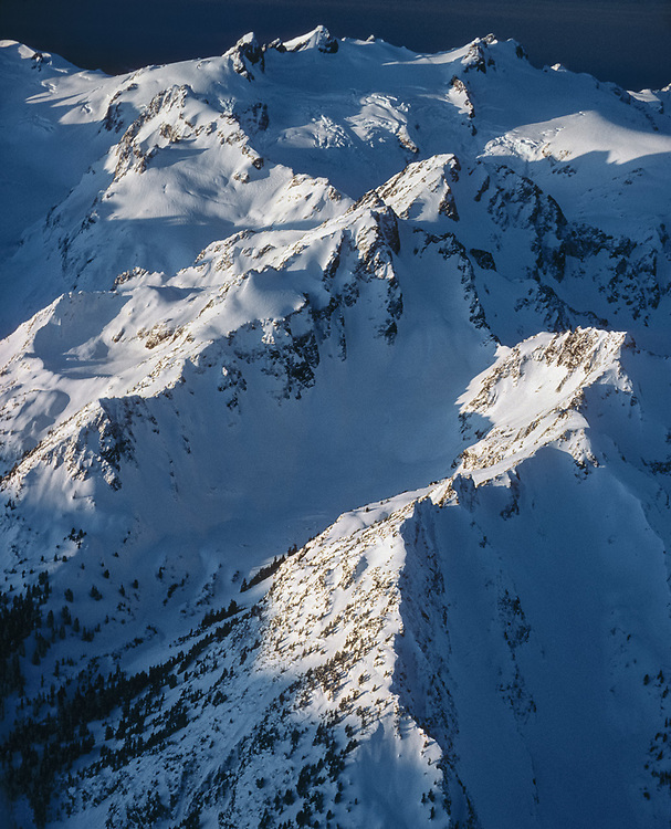 Aerial view, Mount Olympus and Blue Glacier, morning light, December, Olympic National Park, Washington, USA