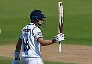 50 for Joe Root of Yorkshire - Joe Root of Yorkshire celebrates scoring a half century during the Specsavers County Champ Div 1 match between Hampshire County Cricket Club and Yorkshire County Cricket Club at the Ageas Bowl, Southampton, United Kingdom on 11 April 2019.