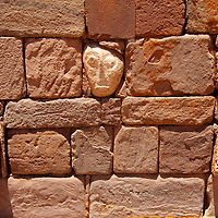 South America, Bolivia, Tiwanaku. Stone Tenon Heads of Pre-Columbian archaeological site of Tiwanaku, a UNESCO World Heritage Site.