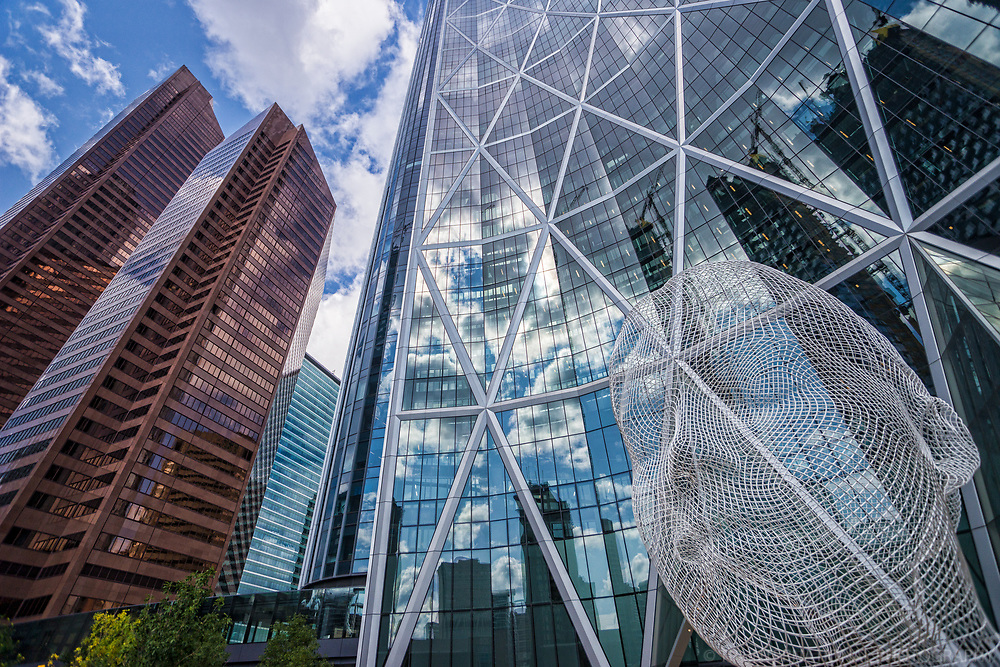 Suncor Energy Centre Towers, The Bow & Wonderland Sculpture (left to right)