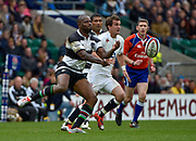 Barbarians wing Ugo Monye (Harlequins & England)  throws out a pass during the International Rugby Union match England XV -V- Barbarians at Twickenham Stadium, London, Greater London, England on May  31  2015. (Steve Flynn/Image of Sport)