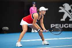January 10, 2019 - Sydney, NSW, U.S. - SYDNEY, AUSTRALIA - JANUARY 10: Ashleigh Barty (AUS) ready to take serve at The Sydney International Tennis in the game between Ashleigh Barty (AUS) and Elise Mertens (BEL) on January 10, 2018, at Sydney Olympic Park Tennis Centre in Homebush, Australia. (Photo by Speed Media/Icon Sportswire) (Credit Image: © Steven Markham/Icon SMI via ZUMA Press)