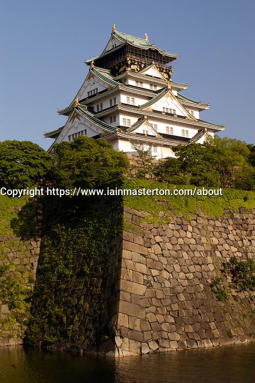 Osaka Castle high above moat in central Osaka Japan