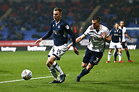 Bolton Wanderers' Andrew Taylor and Millwalls Jed Wallace <br /> <br /> Photographer Leila Coker/CameraSport<br /> <br /> The EFL Sky Bet Championship - Bolton Wanderers v Millwall - Tuesday 10th April 2018 - Macron Stadium - Bolton<br /> <br /> World Copyright © 2018 CameraSport. All rights reserved. 43 Linden Ave. Countesthorpe. Leicester. England. LE8 5PG - Tel: +44 (0) 116 277 4147 - admin@camerasport.com - www.camerasport.com