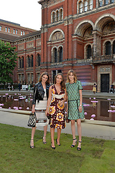 Left to right, sisters LADY VIOLET MANNERS, LADY ELIZA MANNERS and LADY ALICE MANNERS at the V&A Summer Party in association with Harrod's held at The V&A Museum, London on 22nd June 2016.