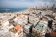 Aerial Photography of Tel Aviv, Israel Neveh Tzedek rooftops in the southern part of the city