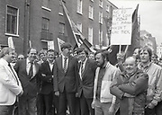 Election candidate Brian Cower joining protect march outside Leinster House, Kildare St, Dublin,<br />