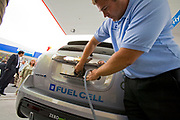 GM employee demonstrates refueling of GM's new Equinox SUV. On June 26, 2008, Shell opened California's first retail hydrogen car refueling station in West Los Angeles. Los Angeles, California, USA