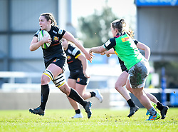 Ebony Jefferies of Exeter Chiefs brushes off the tackle from Rachael Burford of Harlequins - Mandatory by-line: Andy Watts/JMP - 06/02/2021 - Sandy Park - Exeter, England - Exeter Chiefs Women v Harlequins Women - Allianz Premier 15s