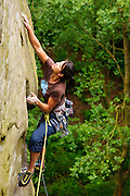 Andrea Hah climbing Five Finger Exercise, E3 5c, Cratcliffe, Peak District