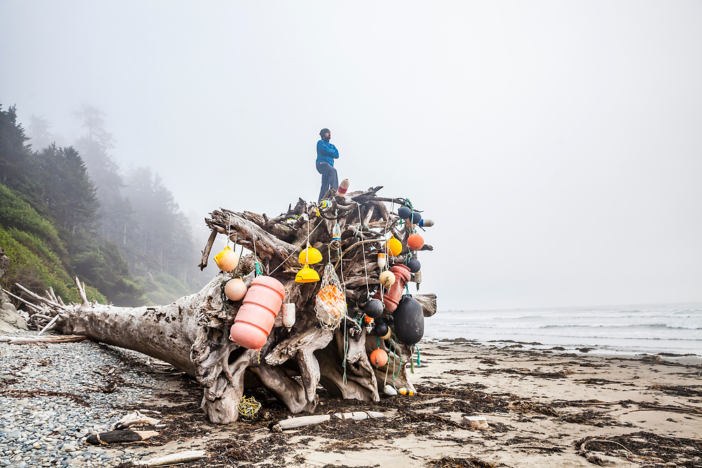 A man stands atop a giant driftwood tree root ball decorated with washed up buoys on the Washington Coast, Olympic National Park Coastal Strip.