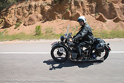 John Landstrom riding his 1928 BMW R62 during Stage 9 (249 miles) of the Motorcycle Cannonball Cross-Country Endurance Run, which on this day ran from Burlington to Golden, CO., USA. Sunday, September 14, 2014.  Photography ©2014 Michael Lichter.