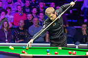 Action from the World Snooker 19.com Scottish Open Final Mark Selby vs Jack Lisowski at the Emirates Arena, Glasgow, Scotland on 15 December 2019.<br /> <br /> Jack Lisowski has to get on his tip toes following Mark Selby's safety shot