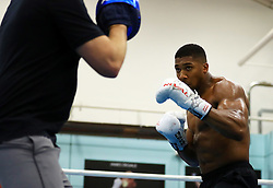 Anthony Joshua during a media session at the English Institute of Sport, Sheffield.