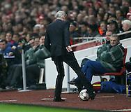 Arsenal's Arsene Wenger tries to control the ball<br /> <br /> UEFA Champions League- Arsenal vs Borussia Dortmund- Emirates Stadium - England - 26th November 2014 - Picture David Klein/Sportimage