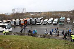 30 December 2017 Huddersfield : Premier League Football - Huddersfield Town v Burnley : supporters from Burnley arriving by coach at John Smiths Stadium.<br /> (photo by Mark Leech)