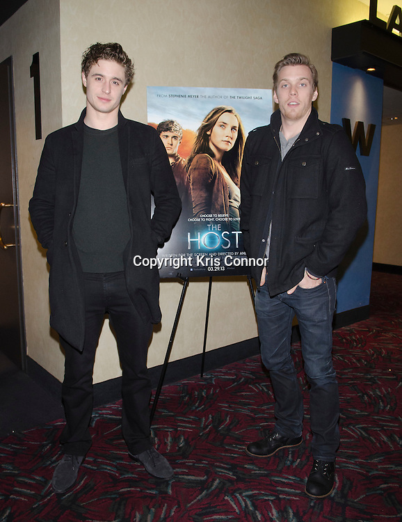 Actors Jake Abel and Max Irons with writer Stephenie Meyer attend a Q&A after a screening of the upcoming movie The Host at AMC Georgetown in Washington DC on February 20, 2013. Photo by Kris Connor/ABACAUSA.COM