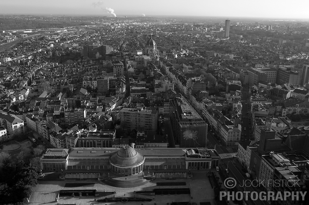BRUSSELS, BELGIUM - Brussels skyline and cityscape with La Botanique, the botanical gardens in the foreground and Saint Mary's Cathedral in the distance in the Schaerbeek neighborhood of Brussels. (Photo © Jock Fistick)