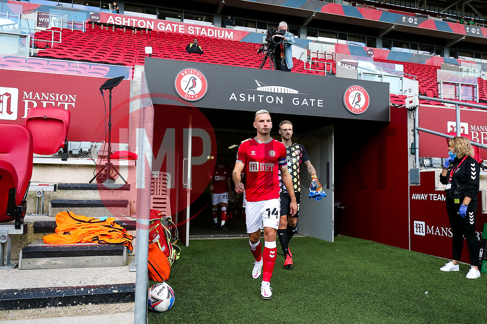 Andreas Weimann of Bristol City leads out the team - Rogan/JMP - 05/09/2020 - Ashton Gate Stadium - Bristol, England - Bristol City v Exeter City - Carabao Cup First Round.