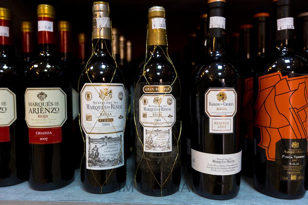 Rioja red wines Marques de Riscal Gran Reserva and Marques de Arienzo Crianza in Pepita Uva shop in Laguardia, Rioja-Alavesa, Spain
