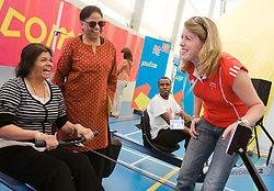 ODA Open House Georgie Harland chats with visiting public using the rowing machine. Pic Anthony Charlton 20.09.08