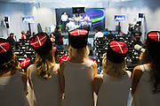 October 8-11, 2015: Russian GP 2015: Grid girls watch the F1 press conference