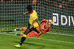 25 February 2017 - Premier League - Watford v West Ham - West Ham goalkeeper Darren Randolph saves from Isaac Success of Watford with the last kick of the game - Photo: Marc Atkins / Offside.