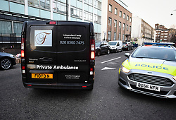 © Licensed to London News Pictures. 19/02/2019. London, UK. A private ambulance is seen leaving the scene near Euston Station in central London where a man died after stumbling in to a hotel on Euston Street with stab wounds. . Photo credit: Ben Cawthra/LNP