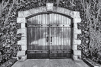 Wooden doors with a stone arch and vines.