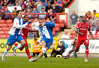Photo: Ed Godden/Sportsbeat Images.<br /> Leyton Orient v Hartlepool United. Coca Cola League 1. 22/09/2007. Ian Moore scores the 4th goal for Hartlepool.
