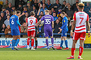 Doncaster Rovers attacker John Marquis (9) red card, sent off during the EFL Sky Bet League 1 match between AFC Wimbledon and Doncaster Rovers at the Cherry Red Records Stadium, Kingston, England on 9 March 2019.