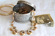 Antique tradition golden jewellery - bracelets, and a necklace and silver jewellery box from Tripoli, Libya.
