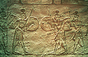 Hittite soldiers. Limestone relief. Temple of Abu Simbel. 14th-13th century BC