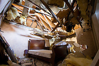 The destroyed bedroom in the home of Rob and Laurel Marlatt, 1004 South Highway 14, south of Aurora, Nebraska.  The Marlatts were taking cover in the basement when the tornado hit and were unharmed.<br /> <br /> Aurora was struck by an EF-2 tornado on May 29. 2008.