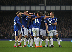 Everton players celebrate after Gaetan Bong of Brighton and Hove Albion (Not Pictured) scored an own goal for their first - Mandatory by-line: Jack Phillips/JMP - 10/03/2018 - FOOTBALL - Goodison Park - Liverpool, England - Everton v Brighton and Hove Albion - English Premier League