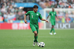 June 14, 2018 - Moscow, Russia - Midfielder Yahia Alshehri of Saudi Arabia National team during the Group A match between Russia and Saudi Arabia at the 2018 soccer World Cup at Luzhniki stadium in Moscow, Russia, Tuesday, June 14, 2018. (Credit Image: © Anatolij Medved/NurPhoto via ZUMA Press)