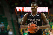 WACO, TX - DECEMBER 9: Jalen Jones #12 of the Texas A&M Aggies shoots a free-throw against the Baylor Bears on December 9, 2014 at the Ferrell Center in Waco, Texas.  (Photo by Cooper Neill/Getty Images) *** Local Caption *** Jalen Jones