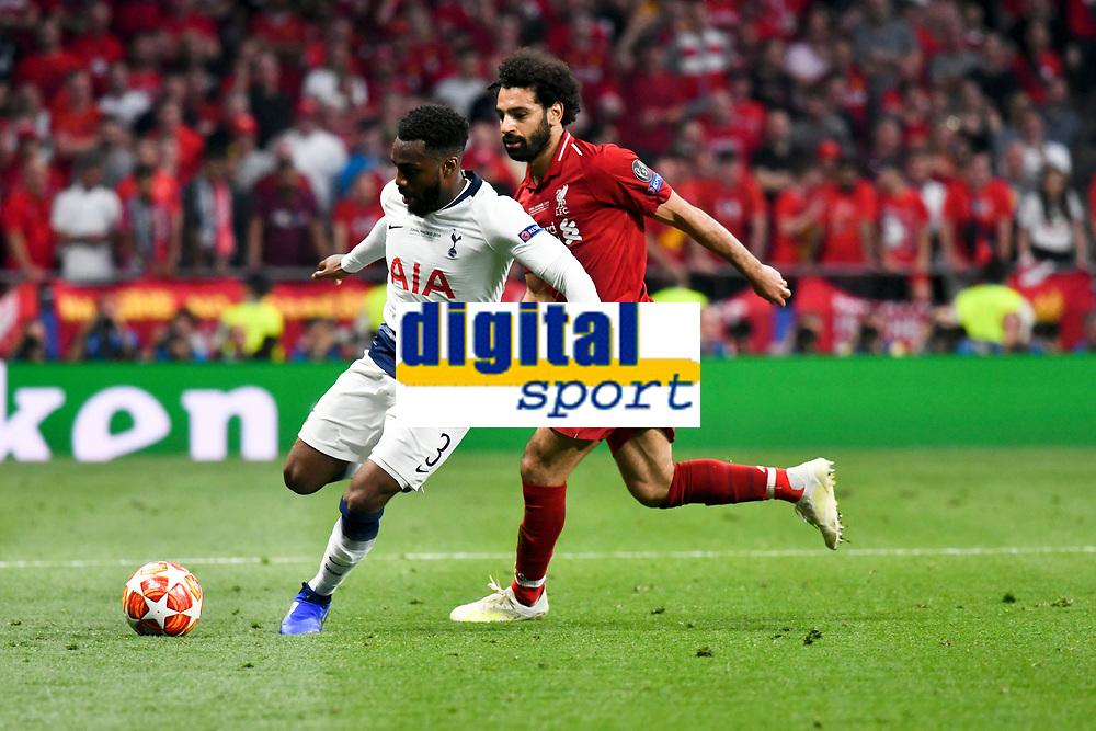 Football - 2019 UEFA Champions League Final - Liverpool vs. Tottenham Hotspur<br /> <br /> Danny Rose of Tottenham & Mohamed Salah of Liverpool, at Wanda Metropolitano, Madrid.<br /> <br /> COLORSPORT/WINSTON BYNORTH