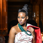 Designer Vina Couture (Tonga) showcases its latest collection with Her Excellency HE Hon. Titilupe Fanetupouvava'u Tu'ivakano of Tonga High Commissioner UK attend the London Pacific Fashion Week at one Whitehall, London, UK. 25 Feb 2019.