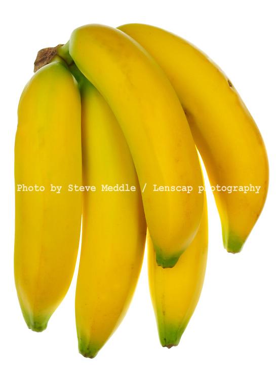 3 Bananas on White Background