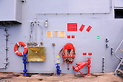 Fire hose and hydrants. USS Missouri, Battleship Missouri Memorial, Pearl Harbour, Hawaii RIGHTS MANAGED LICENSE AVAILABLE FROM www.PhotoLibrary.com