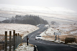 © Licensed to London News Pictures. 16/04/2016. Ribblehead UK. Driver's faced the risk of black ice this morning after last night's snow fall in the Yorkshire Dales. Photo credit: Andrew McCaren/LNP