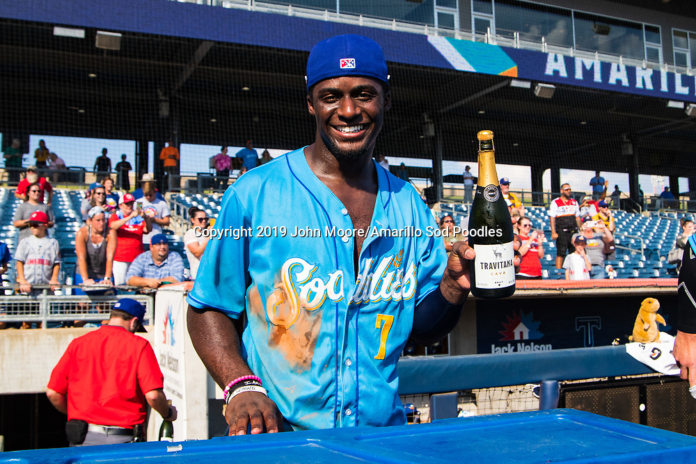 Amarillo Sod Poodles outfielder Taylor Trammell (7) celebrates after the Sod Poodles won against the Tulsa Drillers during the Texas League Championship on Sunday, Sept. 15, 2019, at OneOK Field in Tulsa, Oklahoma. [Photo by John Moore/Amarillo Sod Poodles]