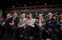 © Licensed to London News Pictures . 27/09/2015 . Brighton , UK . HARRIET HARMAN sitting with her husband JACK DROMEY , listens to a tribute to her record as Deputy Leader , at the 2015 Labour Party Conference . Photo credit : Joel Goodman/LNP
