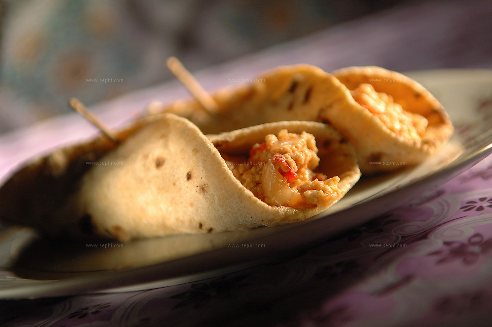 Paneer Bhujia roll - Flat bread rolled with paneer cheese and vegetables ( Recipe available upon request )