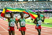 Athletics, 23. august 2003, VM Paris, World Championschip in Athletics, 10000 meter ble vunnet av Kenenisa Bekele (midten. Her med Haile Gebrselassie og Sileshi Sihine (429)