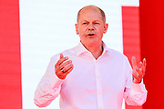 SPD Chancellor candidate and current German Finance Minister Olaf Scholz delivers a speech during an election campaign event of the German Social Democratic Party (SPD) at Bebelplatz square In Berlin, Germany, August 27, 2021. Germany's federal elections are due to take place on September 26, 2021.